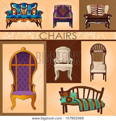 Set of seven chairs in retro and modern style