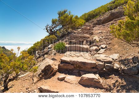 The Steps Put From Stones, Conducting To Mountain Top On Madeira