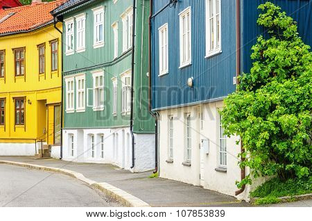 Wooden village in the City,of Oslo, Scandinavia