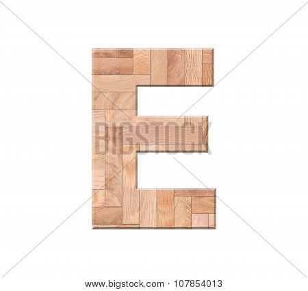 Wooden Parquet Alphabet Letter Symbol -e. Isolated On White Background