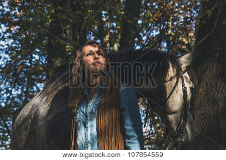 Pretty Girl Standing By Her Grey Horse