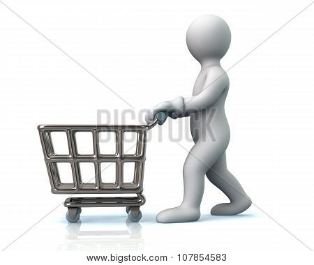 Man Pushing An Empty Shopping Cart