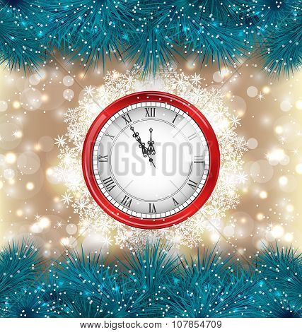 New Year Midnight Background with Clock and Fir Twigs
