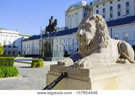 Lion And Prince Jozef Poniatowski Statue
