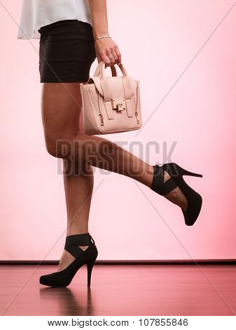 Fashionable Girl Holding Bag Handbag.
