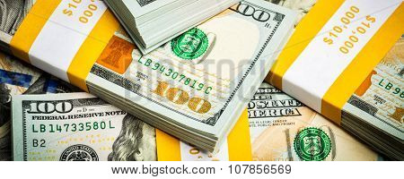 Creative business finance making money concept -  letterbox panoramic bacgkround of new 100 US dollars 2013 edition banknotes (bills) bundles close up