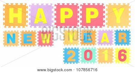 Happy New Year 2016 Words Made Of Alphabet Puzzle Isolated On White Background