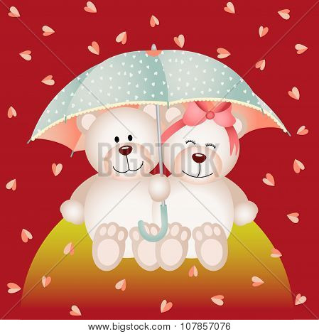 Couple teddy bear with umbrella under the rain of hearts