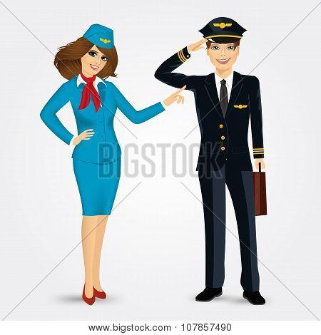 pilot and stewardess in uniform