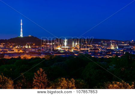 Lviv City Center Night Panorama