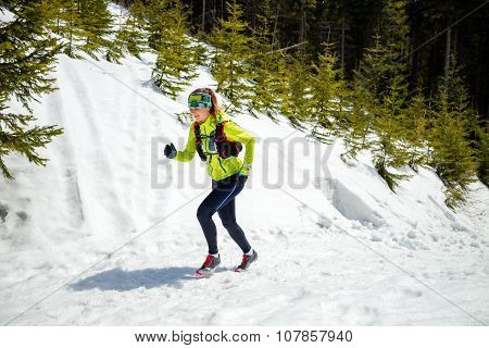 Woman Winter Running In Beautiful Inspirational Landscape