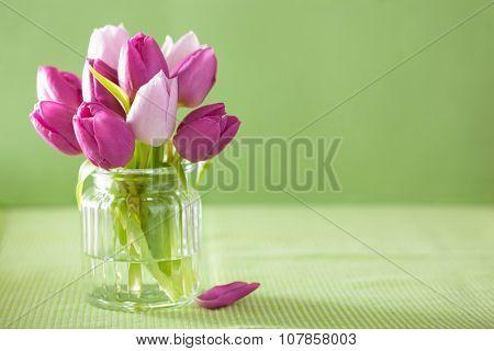 beautiful purple tulip flowers bouquet in vase