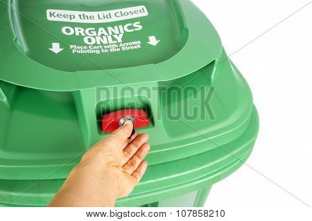 Green Compost and Recycle Bin Isolated on White