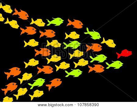 Fishes in dark background, leadership concept