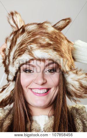 Attractive Woman In Fur Cap