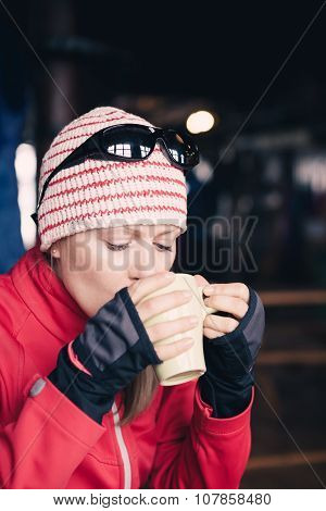 Woman Hiker Drink Hot Tea Or Coffee On Hiking Trip