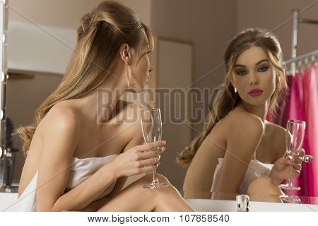Woman Preparing For Party
