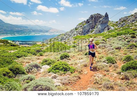 Happy Woman Trail Running In Beautiful Inspirational Landscape