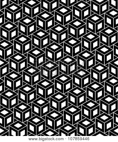 Vector modern seamless geometry pattern cubes black and white abstract