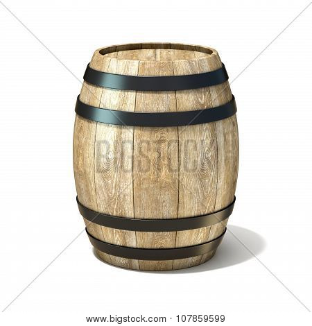 Wooden wine barrel. 3D render