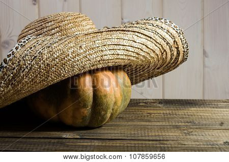 Pumpkin In Straw Hat