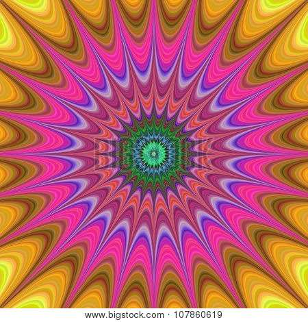 Abstract colorful concentric curved star fractal