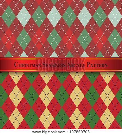 Christmas Seamless Argyle Pattern Design Set 4