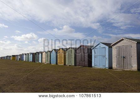 Beach Huts At Dovercourt, Essex, England