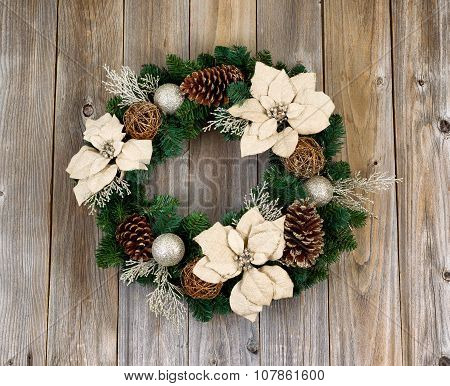 Holiday White Poinsettia Christmas Wreath On Rustic Cedar Wooden Boards