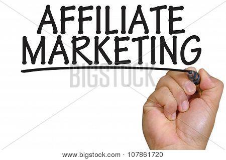 Hand Writing Affiliate Marketing Over Plain White Background