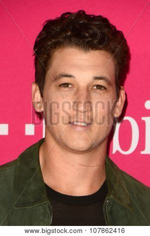 LOS ANGELES - NOV 10:  Miles Teller at the T-Mobile Un-carrier X Launch Celebration at the Shrine Auditorium on November 10, 2015 in Los Angeles, CA