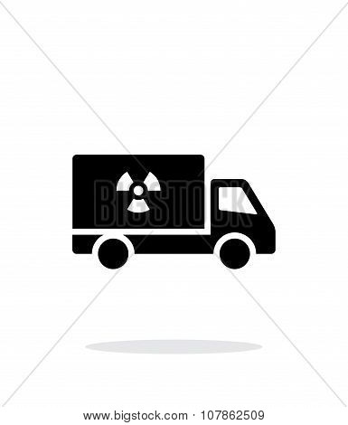Truck with radiation simple icon on white background.