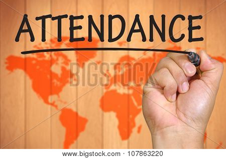 Hand Writing Attendance  Over Blur World Background