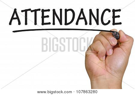 Hand Writing Attendance  Over Plain White Background