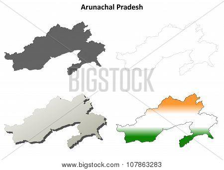 Arunachal Pradesh blank outline map set