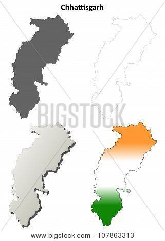 Chhattisgarh blank detailed outline map set