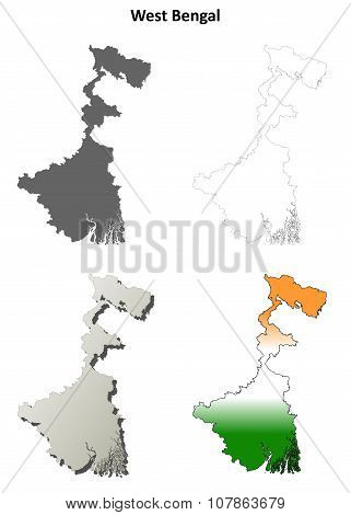 West Bengal blank outline map set