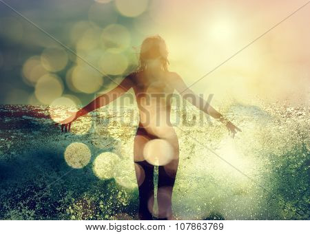 Beautiful Woman Enjoying Sea Waves. Rear View