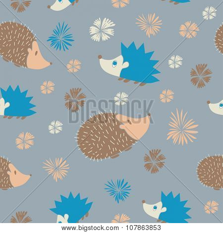 Vector Seamless Pattern with Cute  Cartoon Hedgehogs. Pattern in blue and grey colors. Print for boys.