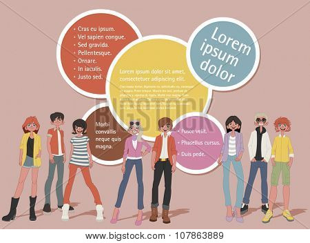 Template for advertising brochure with a group of fashion cartoon young people. Teenagers.