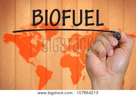 Hand Writing Biofuel Over Blur World Background