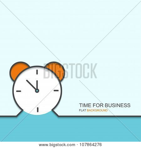 Vector outline flat design of time for business