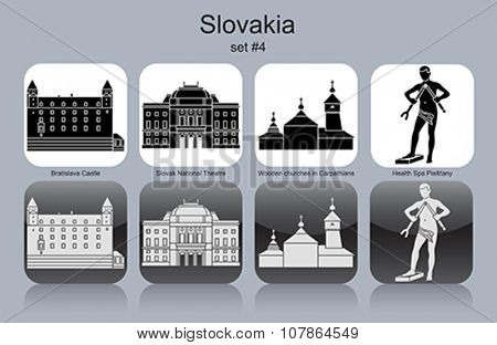 Landmarks of Slovakia. Set of monochrome icons. Editable vector illustration.