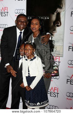LOS ANGELES - NOV 10:  Dr. Bennet Omalu, family at the AFI Fest 2015 Presented by Audi -