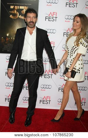 LOS ANGELES - NOV 9:  Antonio Bandares, Nicole Kimpel at the AFI Fest 2015 Presented by Audi -