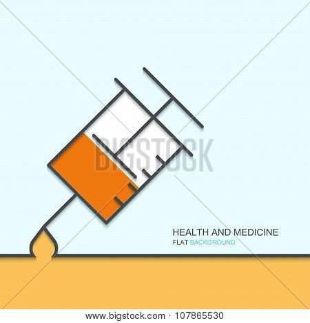 Vector outline flat design of health and medical