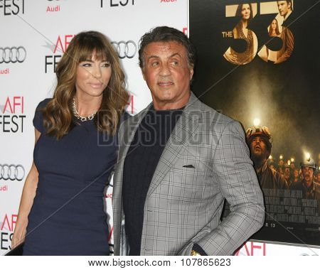 LOS ANGELES - NOV 9:  Jennifer Flavin, Slyvester Stallone at the AFI Fest 2015 Presented by Audi -