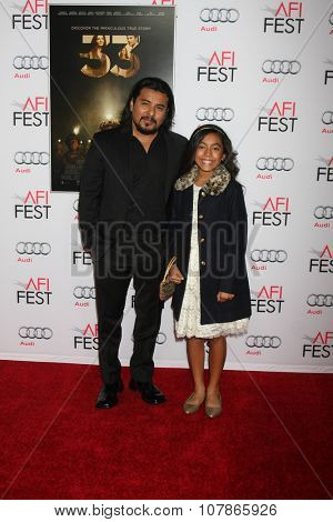 LOS ANGELES - NOV 9:  Jacob Vargas, daughter at the AFI Fest 2015 Presented by Audi -