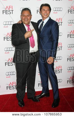 LOS ANGELES - NOV 9:  Luis Urzua, Lou DIamont Phillips at the AFI Fest 2015 Presented by Audi -