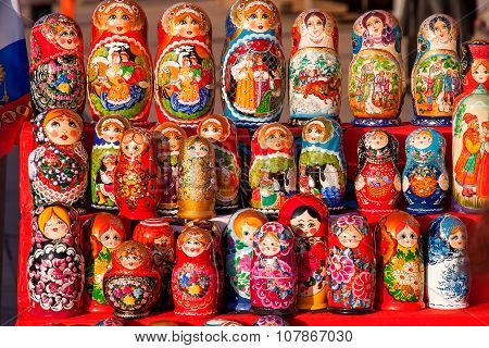 MOSCOW, RUSSIA - March 31, 2008 Russian traditional nested dolls - matryoshka.